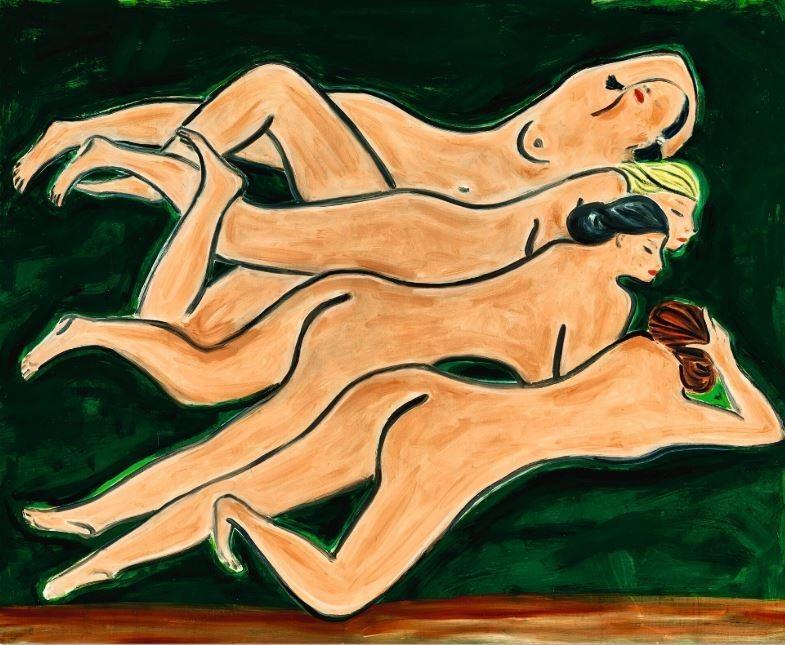 不受疫情影響!香港蘇富比夜間拍賣於7日如期舉行,著名法國華裔畫家常玉的畫作《綠色背景四裸女》以2.58億港幣(約新台幣9.8億)成交,加上佣金折合近10億台幣。(擷取自蘇富比官網)