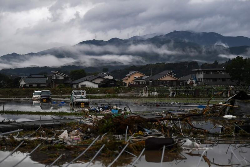 熊本縣人吉市在洪災後滿目瘡痍。(法新社)