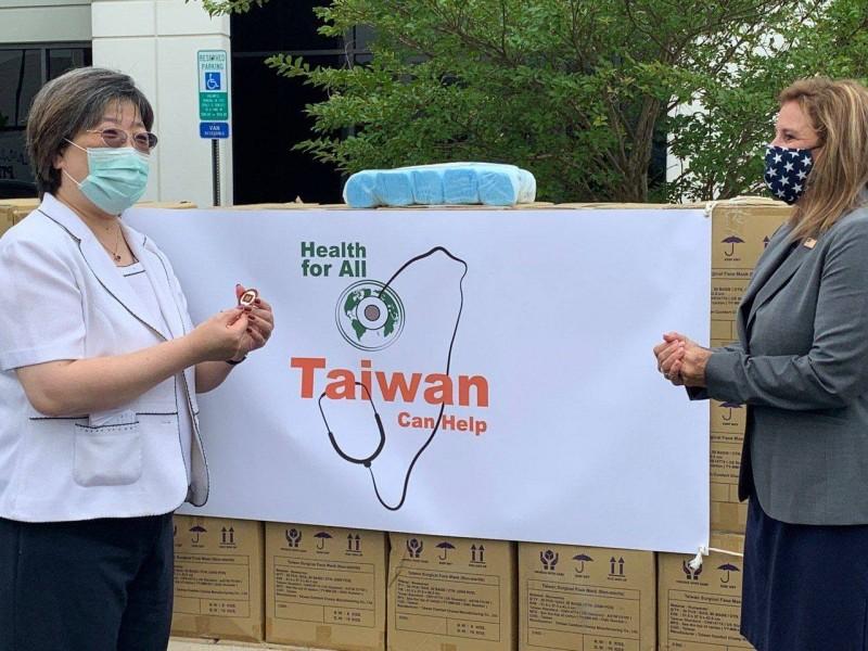 台灣捐贈30萬片醫療口罩給美國退伍軍人部。(圖擷自《Taiwan in the US》臉書)