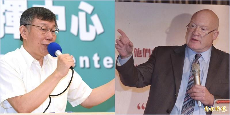 「屠殺」作者伊森.葛特曼(右)質疑台北市長柯文哲涉入器官仲介案,還指他是個「騙子」,氣得柯文哲提告,柯文哲(左)明天將親赴台北地檢署說明,會後將發表聲明。(資料照)