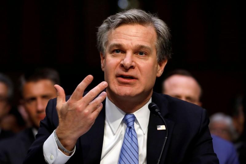 美國聯邦調查局(FBI)局長瑞伊(Christopher Wray)。(路透資料照)