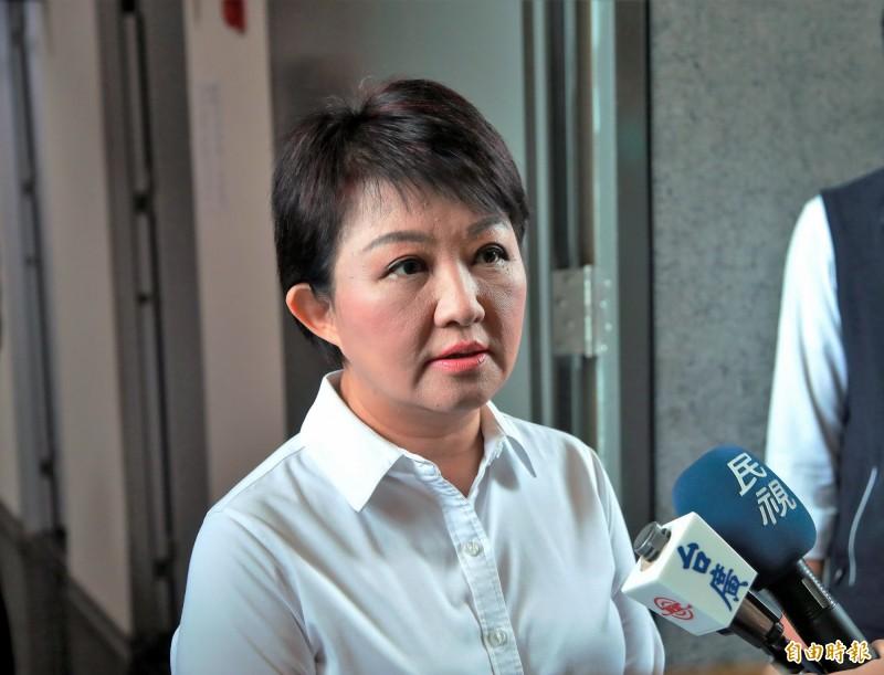 針對台中市政府副秘書長朱康震被爆劈腿 ,市長盧秀燕表示,將調整職務。(記者張菁雅攝)