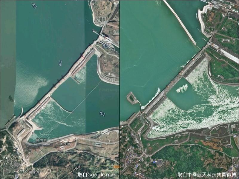 中國近期連續暴雨,多個省分遭到洪災侵襲,長江三峽大壩潰堤疑慮也再度引起外界關注。(圖左取自Google地圖,右取自中國航天科技集團微博)