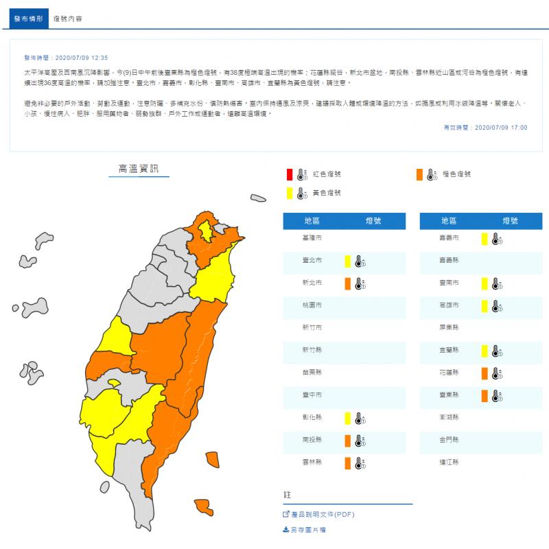 中央氣象局今日中午12時35分,針對11縣市發布高溫警戒。(圖翻攝自中央氣象局官網)