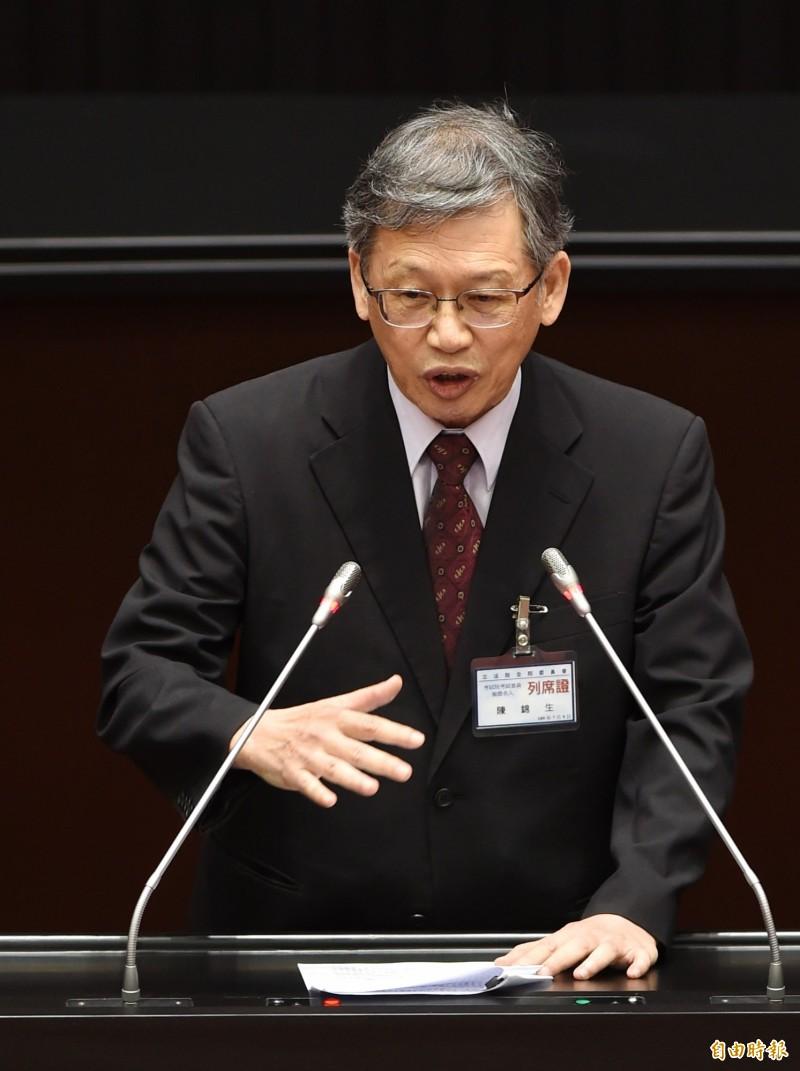 立法院今審查考試院人事同意權,圖為考試委員被提名人陳錦生。(記者方賓照攝)