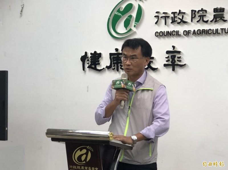 農委會主委陳吉仲說明我國首例牛結節疹案例。(記者楊媛婷攝)