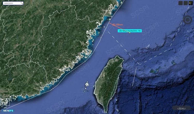 美艦裴拉塔號今現蹤台海北端,最近點距離中國僅82.68浬。(圖:擷取自SCS Probing Initiative)