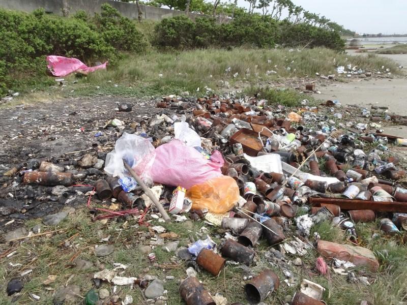 布袋鹽田十區有豐富的鳥類生態,卻常遭民眾偷倒廢棄物。(記者林宜樟翻攝)