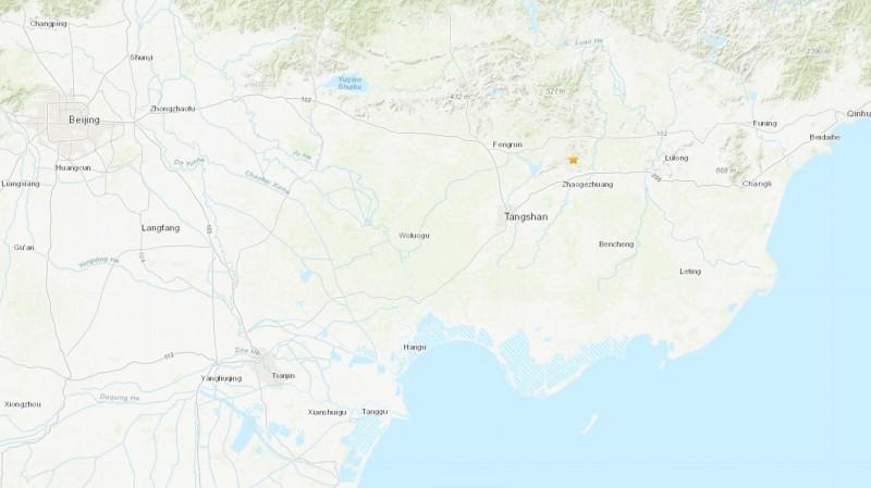 中國河北省唐山市今晨發生芮氏規模4.7地震。(圖擷取自美國地質調查局)