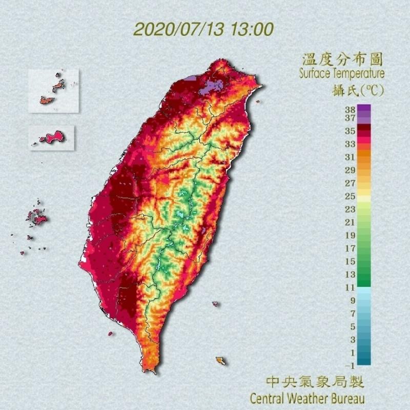 熱爆!今午彰化縣芬園鄉36.9度高居全縣最高溫;整個台灣紅通通就像烤番薯。(圖擷取自中央氣象局)