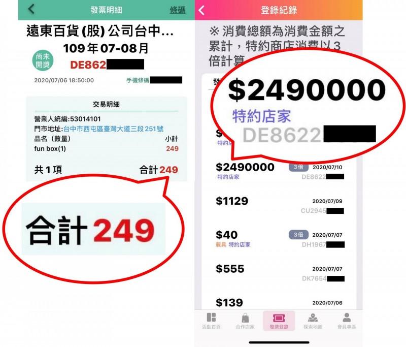 台中市議員林祈烽測試購物節APP,發現可以刻意登錄大額的假消費金額。(台中市議員林祈烽提供)