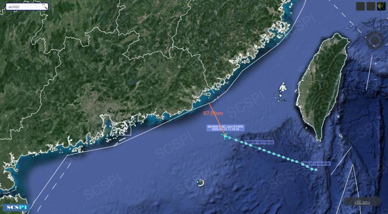 美軍E-8C聯合星偵察機今天上午現蹤台灣南部巴士海峽,朝中國廣東前進,距離中國最近僅有67.51浬(約125公里)。(圖:擷取自SCS Probing Initiative)