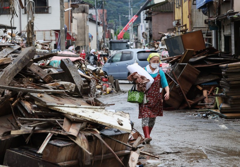 日本九州降下致災豪雨,各地損失慘重。(法新社)