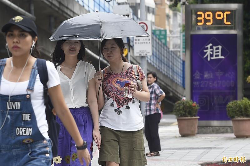 氣象專家賈新興在臉書示警,在異常偏強的太平洋高壓籠罩下,下週台北有打破站史最高溫39.3℃的可能。(資料照)