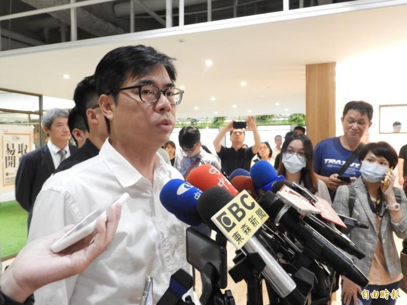 針對高雄市警局長遭拔官,陳其邁強調尊重中央對於警察人事的安排。(記者葛祐豪攝)