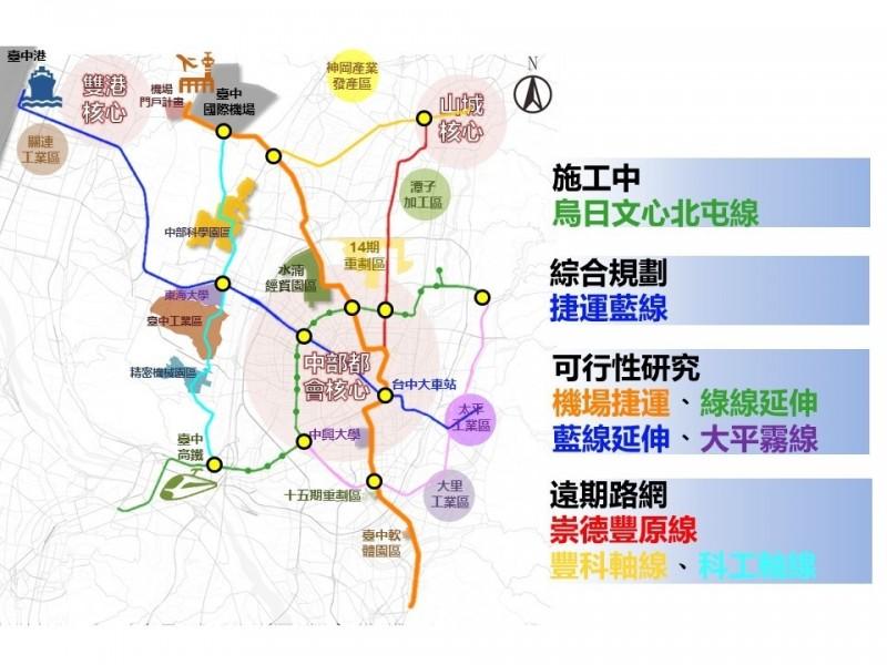 台中捷運綠線傳將棄民權路改台灣大道,議員要求多做說明及評估,不能增加工期及經費。(交通局提供)