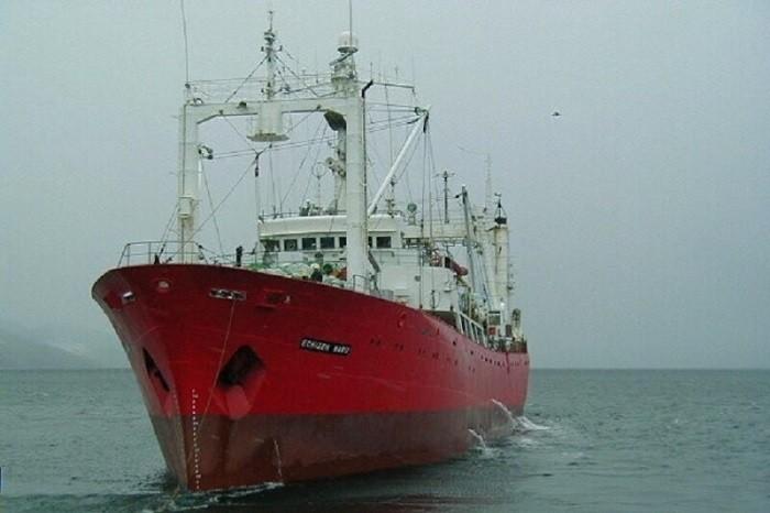 阿根廷拖網漁船「越前丸號」。(圖擷取自影片)