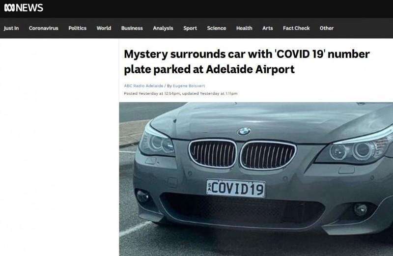 澳洲近日發現一輛棄置在機場的BMW轎車,已停駐將近半年之久,有趣的是,因車牌號碼與新冠病毒撞名,在消息見報之後,網友們紛紛笑稱「難怪連賊都不敢偷」。(圖擷取自ABC新聞網站)