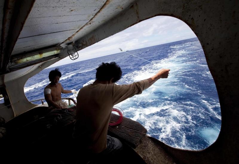 外籍漁工離鄉背井謀生,常傳出意外,其工作環境值得關注。(示意圖,圖中人物與本新聞無關,綠色和平提供)