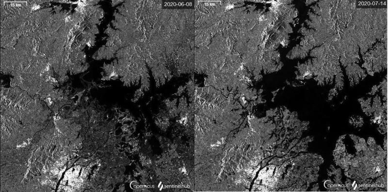 鄱陽湖主體及附近水域面積在昨日早上6點時達到4403平方公里,為近10年最大。圖為6月8日至7月14日間鄱陽湖水體變化。(圖擷取自微博)