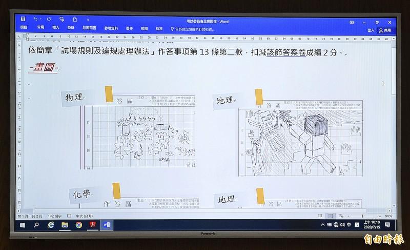 考生在答案卷上寫上跟考試無關的文字及塗鴉。 (記者陳志曲攝)
