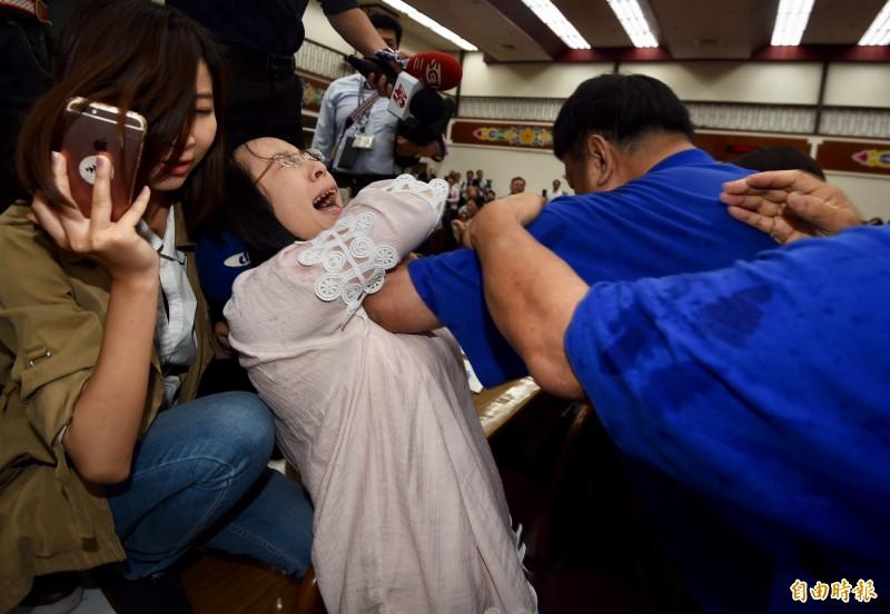 陳瑩曝曾在審查前瞻計劃預算時遭陳雪生肘擊胸部,事後也未曾獲得任何道歉。(記者簡榮豐攝)