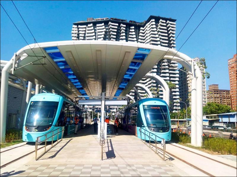 淡海輕軌第一期藍海線預計年底通車,圖為淡水漁人碼頭站。(捷運局提供)