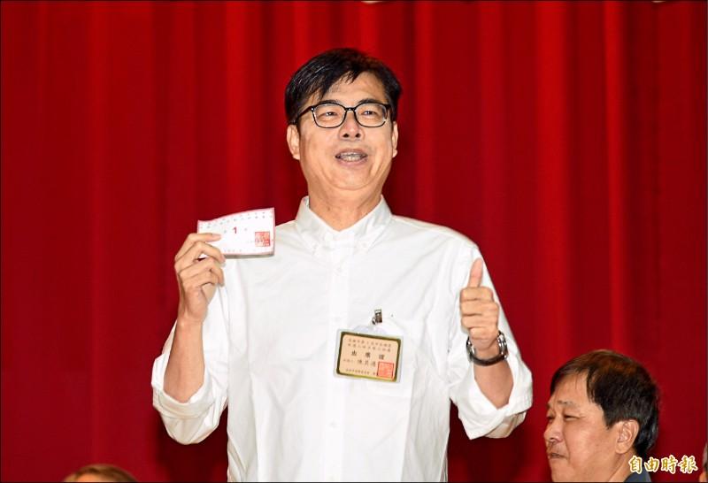 民調領先的陳其邁因兩年前馬失前蹄的教訓,這回謹慎部署,依選戰步調穩紮穩打。(記者張忠義攝)