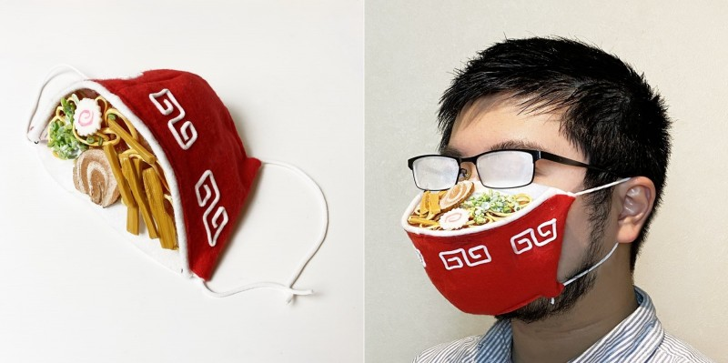 日本設計師自製一款專為眼鏡族打造的「拉麵口罩」。(圖擷自iine_piroshiki@Twitter)
