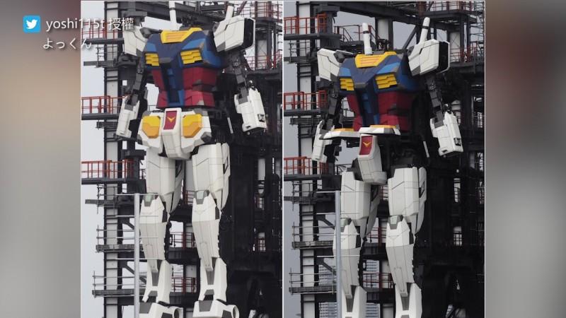18公尺高的鋼彈全身除了手掌有24處可動式關節。(圖片由Twitter帳號yoshi115t授權提供使用)