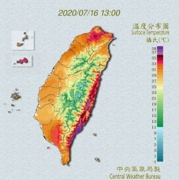 中央氣象局今日午間對全台8縣市發布高溫特報。(圖擷自中央氣象局)