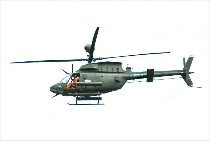 陸軍航特部編號616 OH-58D戰搜直升機昨下午演訓後,自新竹基地起飛不久墜機。(鍾博鈞提供)