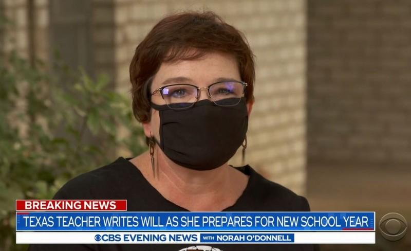 川普要求「今年秋天須讓學生回到教室上課」,有些州已經準備復學事宜,有位任教22年的中學老師對於疫情仍舊相當擔心,甚至已經立下遺囑。(圖擷自CBS新聞)