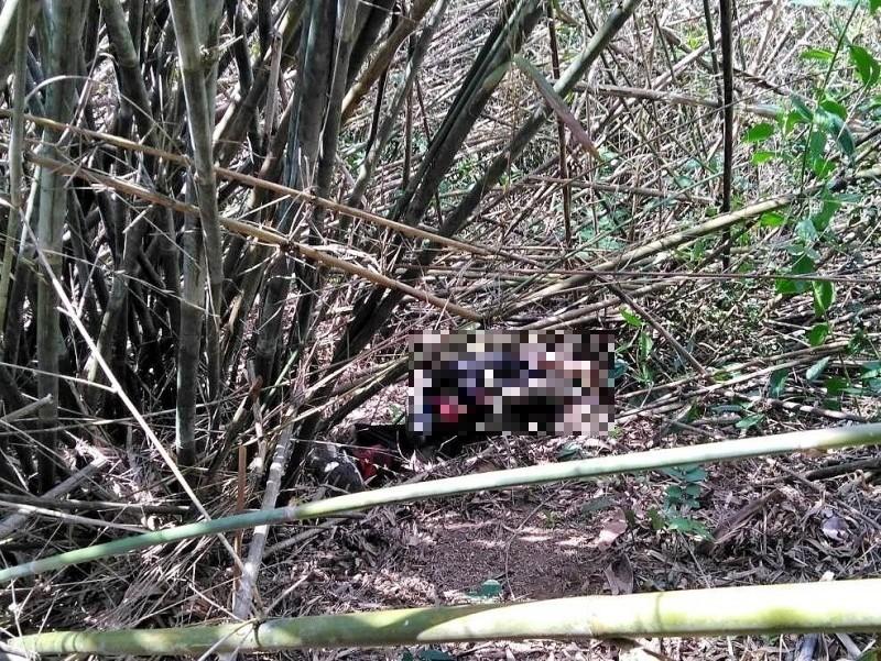救難人員在美濃靈山邊坡找到周男,但已身亡。(記者許麗娟翻攝)
