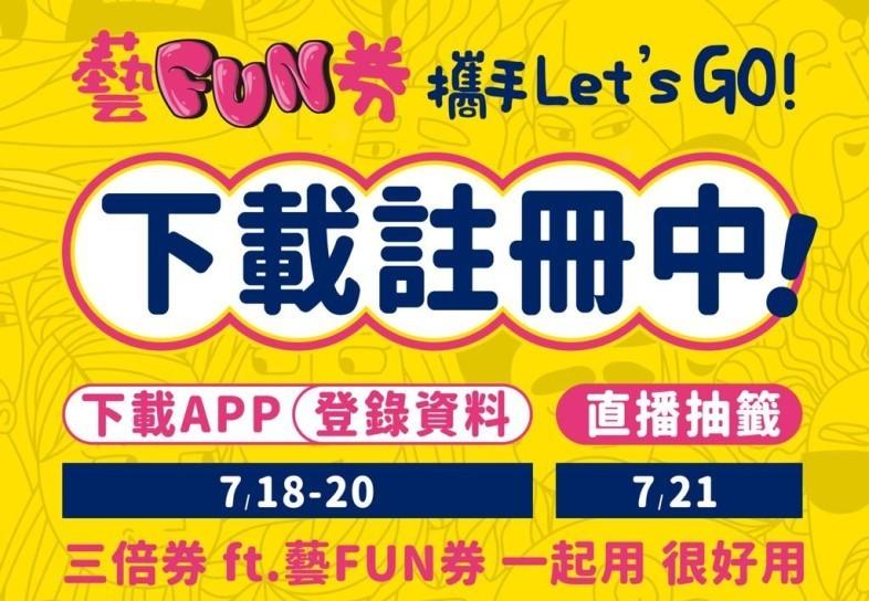 文化部發放的「藝FUN券」今天上午9時開始登記。(圖擷取自文化部)