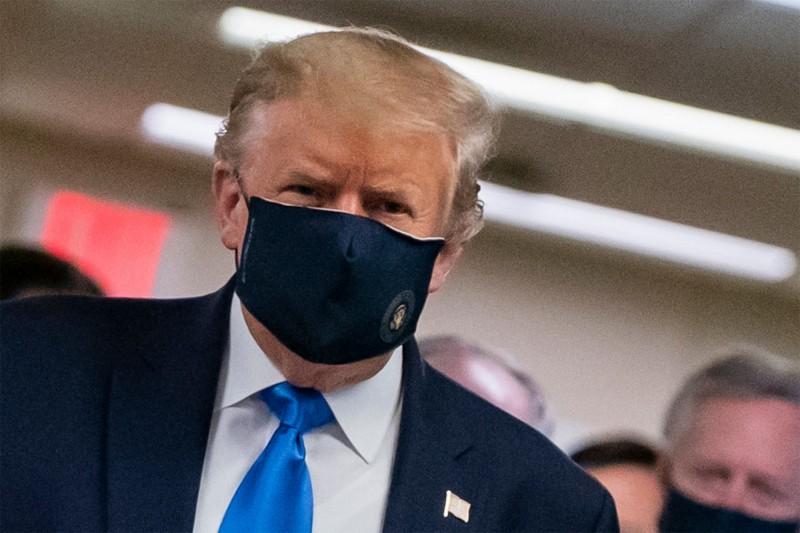 美總統川普至今在公開場合僅戴過一次口罩。(法新社)