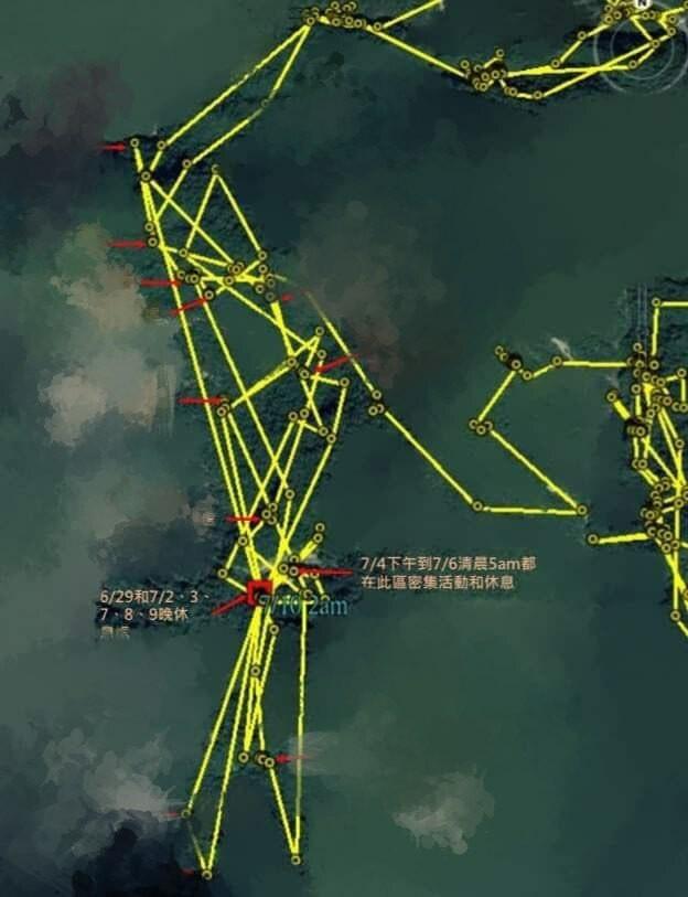 廣原小熊Mulas野放滿2個月了,衛星定位軌跡圖顯示牠經常待在同一區塊,林務單位推測牠應找到穩定的食物來源了。(記者黃明堂翻攝)