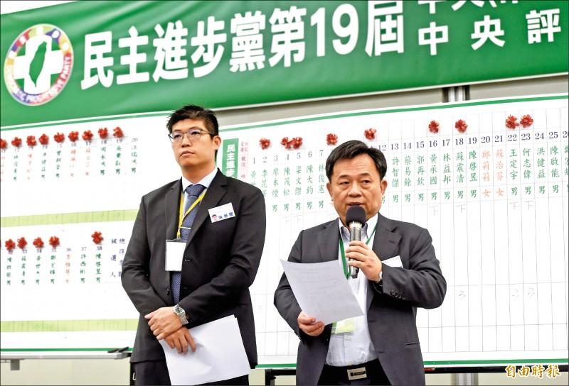 民進黨19日召開第十九屆第一次全國黨員代表大會,秘書長林錫耀(右)公佈中執委、中評委、中常委當選名單。(記者簡榮豐攝)