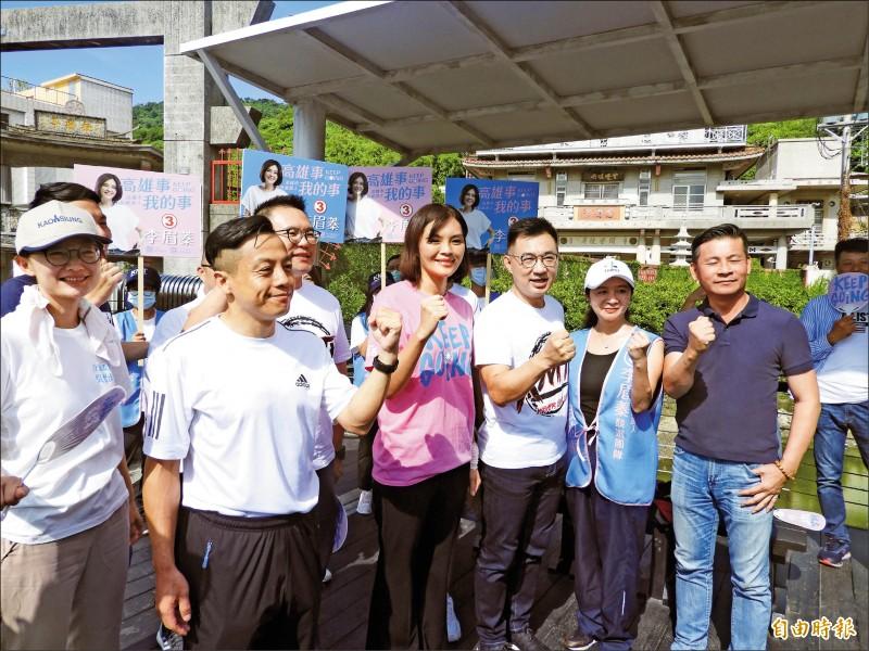 國民黨主席江啟臣及多位台北市議員,南下為李眉蓁輔選。(記者葛祐豪攝)