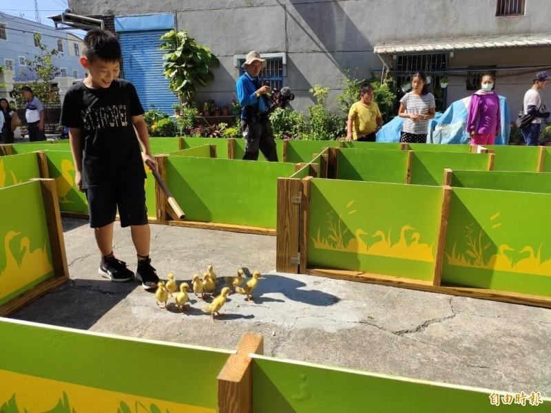 小朋友趕著剛出生、懵懵懂懂的黃色小鴨走迷宮,一路輕喚著「鵝-爸爸爸」,不禁令人會心一笑。(記者蘇福男攝)
