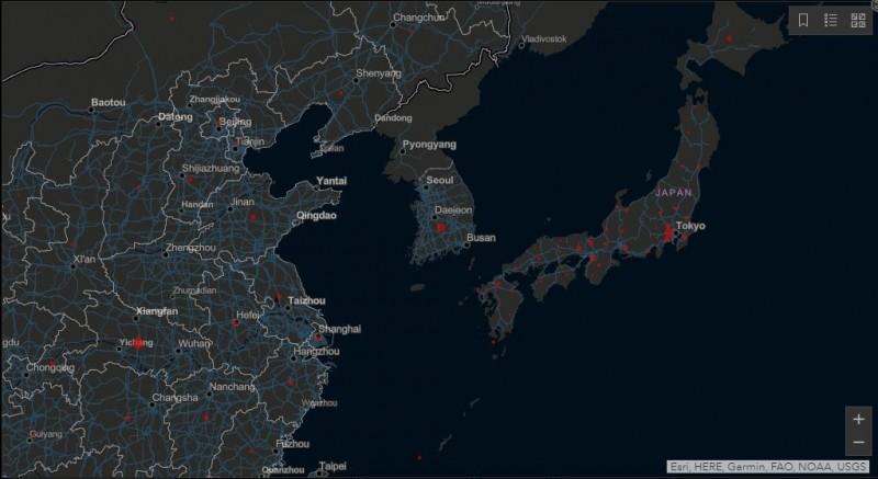 北韓在約翰·霍普金斯大學的病例統計網頁上顯示無病例。(圖擷取自約翰·霍普金斯大學網頁)