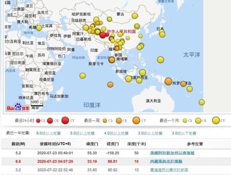 西藏那曲市尼瑪縣於今日清晨約4點7分,發生震級5.1地震(美國地質調查所(USGS)公布為芮氏規模6.3),震源深度僅10公里。(圖擷自中國地震台網)