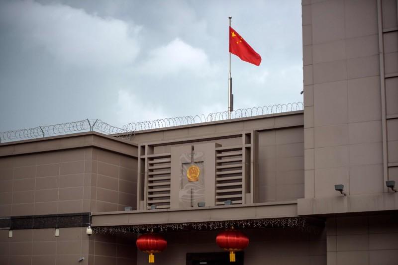 圖為中國駐休士頓總領事館。(法新社)