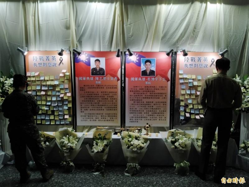海軍陸戰隊殉職士官26日聯合公奠,總統追贈褒揚令。圖為追思點燈情形。(資料照,記者洪定宏攝)