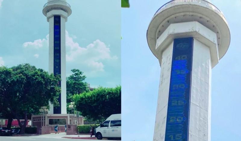 台北今(24)日下午2時19分高溫飆至39.7度,創下設站124年來最高溫紀錄。中央氣象局局長鄭明典也拍下氣象局外的大溫度計,直呼「台北站史上最高溫!快爆表了」。(合成照,圖左中央氣象局、圖右鄭明典臉書)