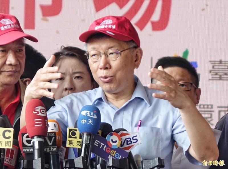 台北市長柯文哲受訪。 (記者劉信德攝)