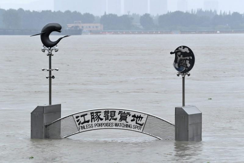 中國6月以來持續暴雨,多地水患,而長江今年第3號洪水又將到來。圖為19日長江南京下關段水位高漲。(法新社)