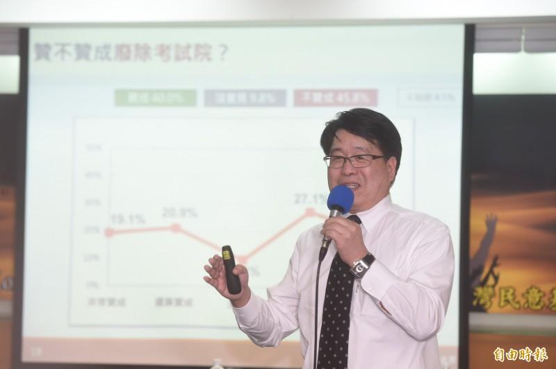 台灣民意基金會董事長游盈隆報告民調結果。(記者簡榮豐攝)