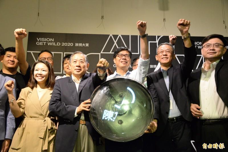 陳其邁在高雄軟體科學園區出席數位內容業者座談會。(記者許麗娟攝)