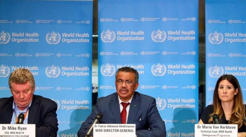 世界衛生組織(WHO)秘書長譚德塞指出(圖中),全球確診病例過去六週就增加一倍,因應疫情更趨嚴峻,本週四將再度召集世衛緊急委員會討論疫情。(路透)